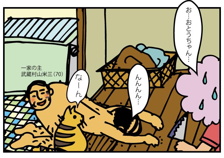浴室の入り口で躓いて転ぶ米三